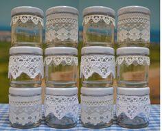 12 mini vintage lace Jam Jar favours French shabby by HuffyHen, Country Wedding Favors, Wedding Favours, Rustic Wedding, Wedding Ideas, Mason Jar Crafts, Mason Jars, Diy Jars, Lace Jars, Jar Art