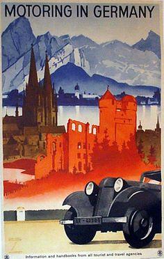 Motoring in Germany (1930) | Artist : Ludwig Hohlwein (Germa… | Flickr