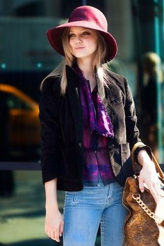 love the hat the purple flannel and jeans-comfy