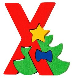 Montessori Waldorf wooden puzzle letter Xmas made by by Ludimondo, $6.00
