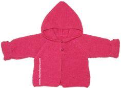 Chaqueta con capucha para bebe de 6 a 9 meses. Con video explicativo