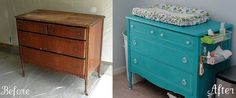 Redo dresser to create changing table with blue dresser, this is exactly it except not teal.
