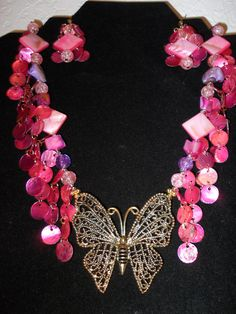 Hot Pink Butterfly Necklace / gold butterfly by OhEdith on Etsy, $20.00