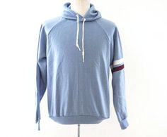 Vintage 80s Hoodie acrylic sweatshirt new old stock striped light blue