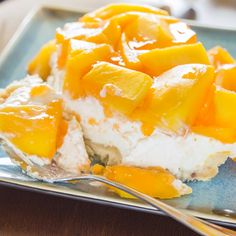 A fresh and delicious mango dessert recipe made on a macademia nut crust.
