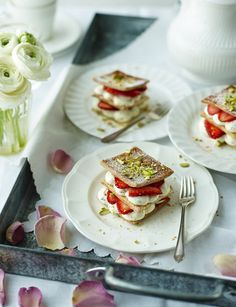 Rose and pistachio strawberry millefeuille a great summer dessert!