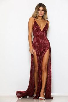 STAND OUT! Abyss by Abby sequin Encore gown is perfect two high front splits back zipper lined only on bust, skirt part is sheer low back stretch fabric model wearing size XS an is XS S M L Bust 78 81 85 89 Waist 62 65 69 73 Hip 79 82 86 90 Deb Dresses, Prom Dresses Uk, Going Out Dresses, Quinceanera Dresses, Elegant Dresses, Blue Satin Dress, Satin Dresses, Backless Gown, Sequin Gown
