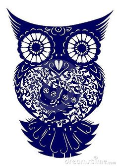 Love this for a tattoo idea!! Notice the two owls on the belly of the big owl.. this is perfect