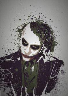 """""""Smile""""  Splatter effect artwork inspired by The Joker from The Dark Knight"""