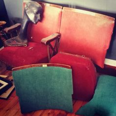 Cinema seats in process of being reupholstered.