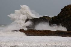 Portreath harbour storm damage