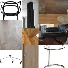 Moodboard interior  with wood steel and black leather
