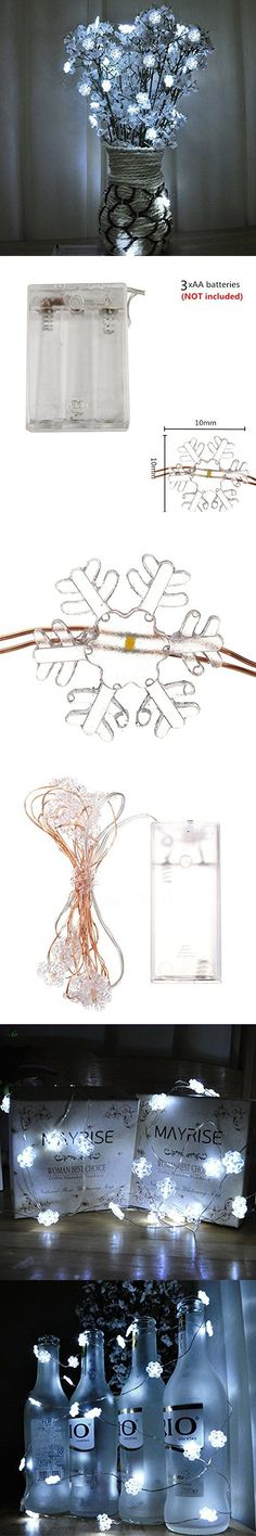 10 ft 30 lights Snowflake String Lights 3 AA Battery Operated Fairy Lights Submersible Wire Wedding Christmas festivals and events Decoration (Cool White)
