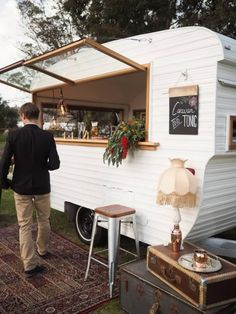 Caravan and Tonic is the cutest vintage bar on wheels perfect for weddings, special events and anywhere you want a professional and beautiful bar setup.