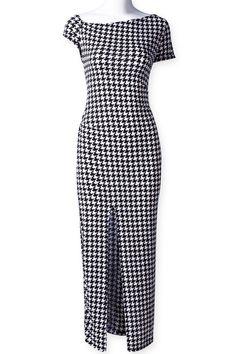 #Black #White Short Sleeve Plaid Split #Dress