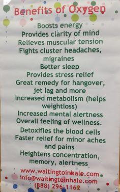Benefits of oxygen.  Waiting to2 Inhale Oxygen Bars