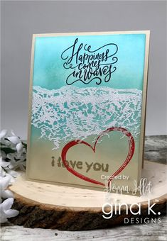 Hello everyone! It's release day over at Gina K. If you missed the release party tonight, here are the cards that I showed. Die Cut Cards, Love Cards, Diy Cards, Handmade Cards, Stamp Tv, Beach Cards, Wink Of Stella, Ocean Themes, Paper Flowers Diy