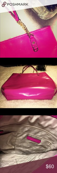 Michael Kors Hot Pink Gold Diaper Bag Collection Excellent condition. Never used. No logo on the outside only inside. Very cute and bright purse. MICHAEL Michael Kors Bags Baby Bags