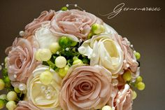 Bridal Fabric Bouquet - Ivory and rose-peach Handmade bouquet - bridal bouquet
