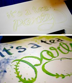 How to fake calligraphy (the right way). Cute for Mother's Day tea party invite.