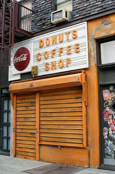 Donuts Coffee Shop - Mixed Media Sculpture A mixed media sculpture of a Brooklyn donut shop. Original storefront structure located near and Union, Park Slope area of Brooklyn, New York. Coca Cola, New York Coffee, Nyc Coffee, Coffee Shops, Brooklyn Coffee, Coffee Maker, Saloon, Café Bar, Donut Shop