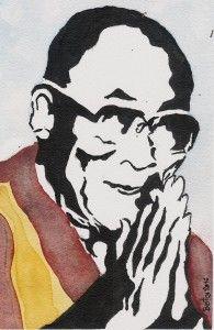 14th Dalai Lama (ink & watercolor) ...tonight painting #dalailama #ink&watercolor #freetibet #dharamsala #friendofczechpeople #fridaywork #mypainting #tibet #compassion #mysympathy Art, Watercolor Art, Painting, Figures