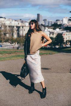 Muse: Natalie Off Duty  Mini Skirt + Leather Jacket