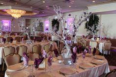 Winter Tree Centerpiece Winter Tree with Crystal Icicles, Purple Flowers & LED Tea Lights