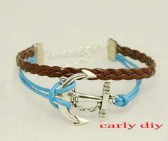 ancient silver anchor charm bracelet green nautical by Carlydiy, $1.99