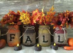 Cozy look,Fall jar decor …