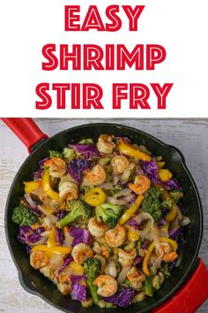 Easy Shrimp Stir Fry that comes together in 15 minutes! It's so versatile you can use pretty much whatever vegetables you have on hand! Shrimp Stir Fry Easy, Easy Stir Fry, Homemade Stir Fry Sauce, Gluten Free Soy Sauce, Broccoli Stir Fry, Stir Fry Recipes, Deep Dish, Seafood Recipes, Main Dishes