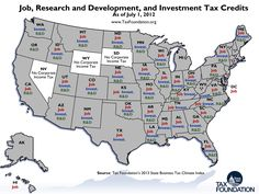 Map of State Tax Incentives for Business