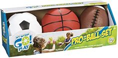 Amazon.com: Toysmith Get Outside GO! Pro-Ball Set, Pack of 3 (5-inch soccer ball,6.5-inch football and 5-inch basketball): Toys & Games First Football, Football And Basketball, Soccer Ball, Imagination Toys, Little Sport, Novelty Toys, Sports Toys, Best Birthday Gifts, Birthday Presents