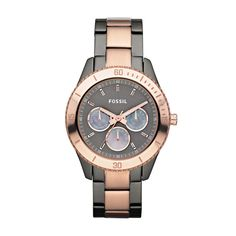 Fossil Stella Stainless Steel Watch - Smoke and Rose. Want so badly.
