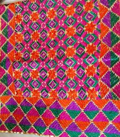 Phulkari hand embroidered scarf. Www.facebook.com/palakscreations #phulkari #palakscreations #sequins #bright #colors #india