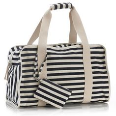 Navy White Striped Canvas Weekend Bag