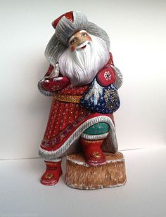 Russian SANTA with a Bird Wooden Hand Carved Hand Painted SIGNED