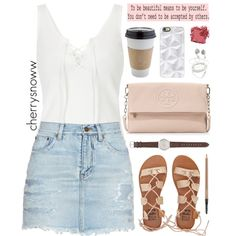 Cute casual summer outfit by cherrysnoww on Polyvore featuring Yves Saint Laurent, Billabong, Tory Burch, J.Crew, Casetify, Bobbi Brown Cosmetics, MAC Cosmetics, OUTRAGE and KEEP ME