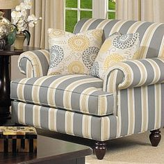 Charlotte Arm Chair, love this chair for the living room or teal and grey to go with the bedroom? New Living Room, Living Room Chairs, Living Room Furniture, Sofa Design, Interior Design, Striped Chair, Striped Furniture, Traditional Chairs, Grey Armchair