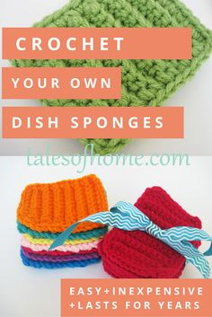 """These dish """"scrubbies"""" last for years, are machine washable, and can even be bleached to kill bacteria! - free pattern on talesofhome.com"""