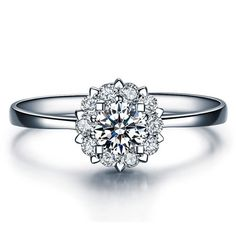 Diamond Engagement Ring White Gold or Yellow Gold Diamond Ring Cluster Settings by ldiamondsforever on Etsy https://www.etsy.com/listing/217671209/diamond-engagement-ring-white-gold-or