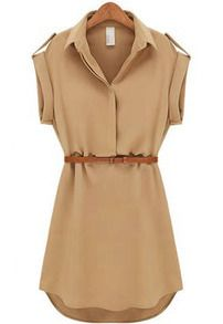 Khaki Lapel Short Sleeve Loose Chiffon Dress