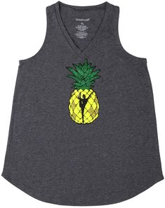 Pineapples are all the rage these days and this tank top celebrates the fruit as well as gymnastics! A pineapple graphic is jazzed up with green and gold glitter and a gymnast silhouette Gymnastics Clothes, Grey Tank Top, Stand Tall, Green And Gold, Pineapple, Middle, Silhouette, Crown, Shape
