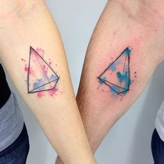 Watercolor Tattoos: Triangle Twins
