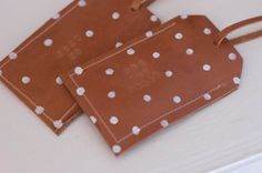 Leather Luggage Tag Polka Dot Personalized by ShopAlwaysRooney, $15.00