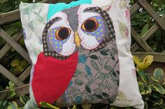 Quirky Decorative Owl Cushion  Free Motion by RoobarbTree on Etsy
