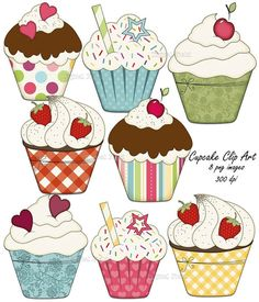 Colorful Cupcake Clip Art set - 8 high quality (300 dpi) PNG printable digital elements perfect for scrapbooking, card making, invitations, graphic