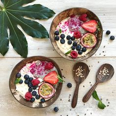 WEBSTA @ dailybowlofhappiness - My latest obsession: Coconut Yogurt  Here, it's served for breakfast with chia pudding, blueberries, raspberries, strawberry, passion fruit and a sprinkle of cacao nibs and quinoa puffs. The pink shade is beet powder What are your food addictions? Have a beautiful Tuesday y'all! ☀️..#yogurt #coconut #coconutyogurt #coyo #coconutbowl #plantaardig #smoothie #smoothiebowl #blueberry #blueberries #berries #raspberry #raspberries #quinoa #strawberry #stra
