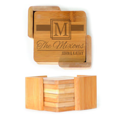 Square Wood Coasters (6) - Ribbon Monogram Personalized with Family names