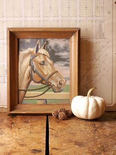 Vintage Framed Paint by Numbers Horse Painting by CopperAndTin, $34.00